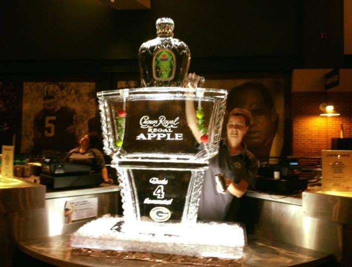 A Thanksgiving Luge carving for Crown Royal at Lambeau Field today. Call us today for your holiday liquor luge to feature your favorite drinks at your next holiday party or corporate celebration.