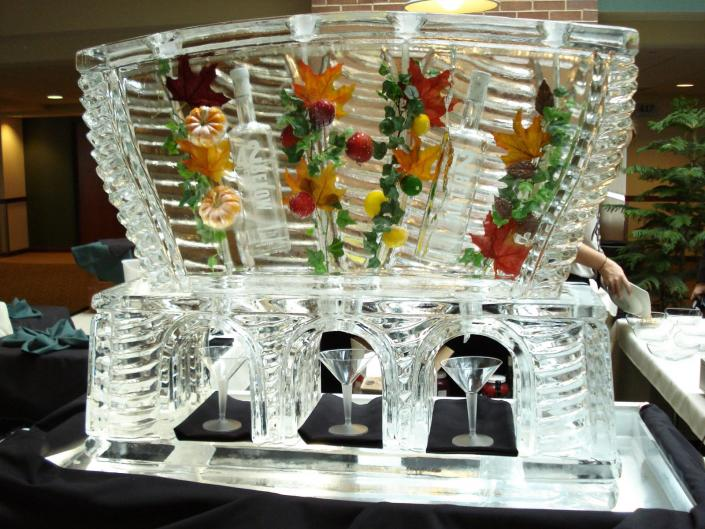 [Image: This Fall Themed Ice Luge was custom built and is one our longest lasting ice designs. ]