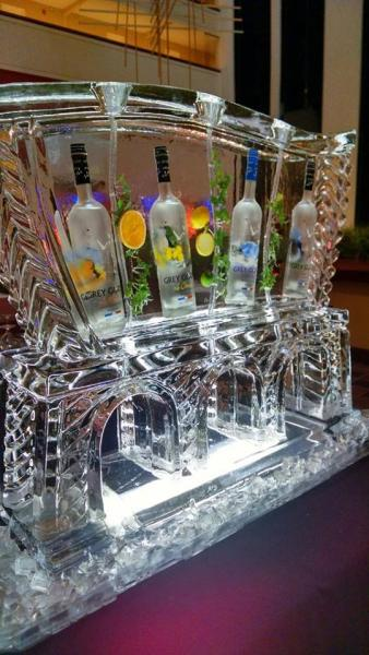 [Image: Check out this close-up of a Grey Goose Luge for a recent Fundraiser. Kyrstal Kleer Ice Sculptures, LLC is honored to be a part of so many good causes. Call us today to place your order. ]