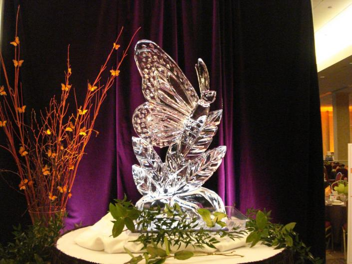 "Dramatic ""Butterfly on Leaf"" Display"" Ice Sculpture"