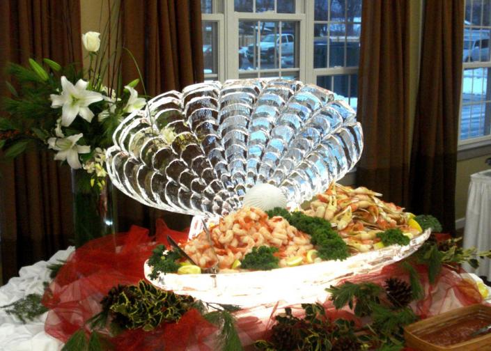 Mouth-Watering Clam Shell with Shrimp Display Ice Sculpture