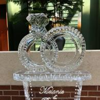 Monogrammed and Linked Wedding Rings Ice Sculpture