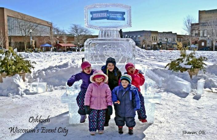 [Image: This custom ice sculpture for Oshkosh in Wisconsin was huge hit with the kids! What to learn more about branding with unique ice sculptures for your your next event or celebration? Contact Krystal Kleer Ice Sculptures, LLC today. ]